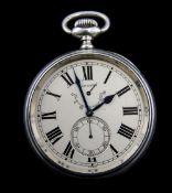 Longines - Silver Cased World War 1 Era Torpedo Boat Deck Chronometer Oversized Watch. c.1912.