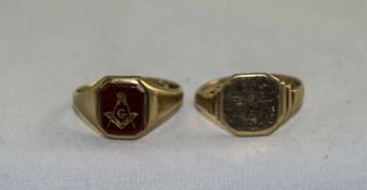 A 9ct Gold Masonic Ring. Fully Hallmarked + a 9ct Gold Gent Signet Ring. Fully Hallmarked. 7.