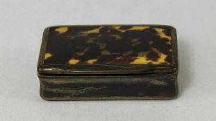 George III Tortoiseshell Hinged Rectangle Shaped Snuff Box. 2.5 Inches Diameter.