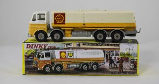 Dinky Diecast No No.944 Leyland Octopus Shell BP Fuel Tanker - white, yellow, grey, grey plastic