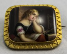 A 19th Century Very Fine Continental Hand Painted Ceramic Brooch /  Pendant within a High Ct Gold