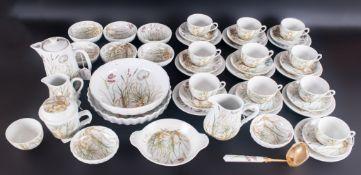 Pillivuyt France Vintage & Rare Molling Porcelain 48 Piece Tea Service,  comprising 10 trios, 2