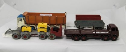 Five Dinky Diecast Models Comprising Leyland Tipper, Two Trailers, Foden 8 Wheel Wagon With Chains &