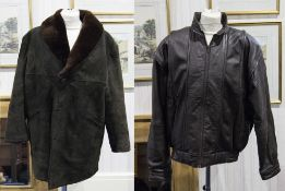 Gents Dark Brown Sheepskin Jacket with red brown lamb collar, labelled Cotterstock by Pullman,