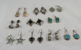 A Good Collection of 10 Pairs of Stone Set Vintage Silver Earrings.