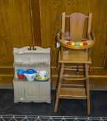 Small Childs/Dolls Wooden Framed Highchair, Hinged Centre Converts To Pushalong Chair Together