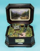 Thomas Kinkade - End of Perfect Day II Mountain Retreats Music Box. Key Wind, Plays Autumn Leaves.
