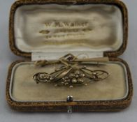 A Victorian 9ct Gold Brooch, Floral Design. Marked 9ct. 2 Inches In Length.