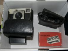 Assorted Cameras including Kodak Brownie, Kodak Instamatic, Ilford Sporti, folding opera glasses