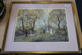Helen Bradley Framed Coloured Print 11 by 15 inches.