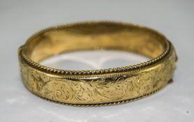 A Vintage 9ct Gold Hinged Bangle. Hallmark Chester 1959. 23.3 grams.