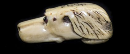 A Late 19th Century Ivory Figural Swagger Stick Top, In The Form of a Dogs Head with Glass Eyes. 2.