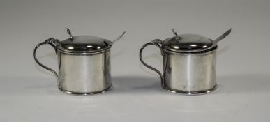 Edwardian Pair of Silver Lidded Mustard Pots, Complete with Blue Liners and Spoons.