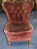 Early 20thC Bedroom Chair, Button Back Padded Seat Raised On Short Cabriole Legs, Height 30 Inches