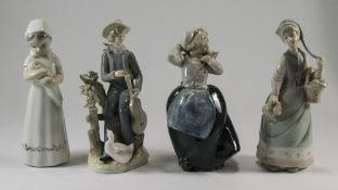 Collection of Four Unmarked Lladro Style