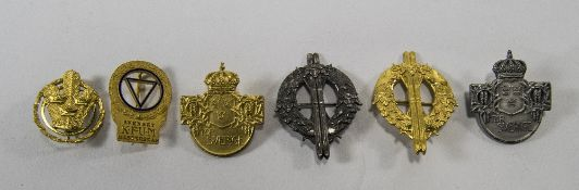 Set Of 6 Swedish Badges In Gilt And Silv