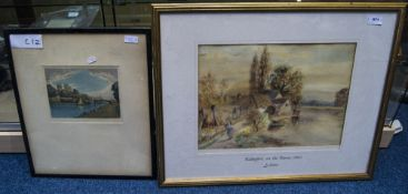 Framed Watercolour Wallinford On The Tha