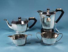 Art Deco Fine Quality 4 Piece Silver Cof