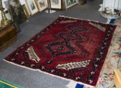 Turkish Wool Rug, predominantly red in c