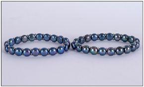 Pair of Peacock Fresh Water Pearl Bracel