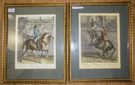 Pair Of French Framed Coloured Engraving