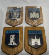 4 Shield Shaped Wall Plaques Depicting A