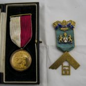 Masonic 9ct Gold Medal with 9ct Gold Mou
