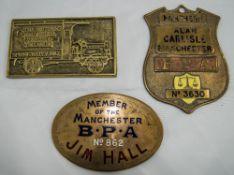 3 Brass Badges Comprising 2 Manchester B