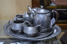 Collection Of Planished Pewter To Includ