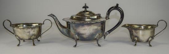 Three Piece Silver Plated Tea Service, c