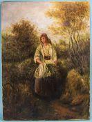 J Morris (circa 1900). A Lady on a Path
