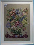 Framed Tapestry in white painted frame.