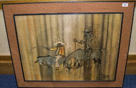 Paynton Hessian Framed Picture Depicting