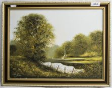 Les Parson Oil On Panel River Landscape