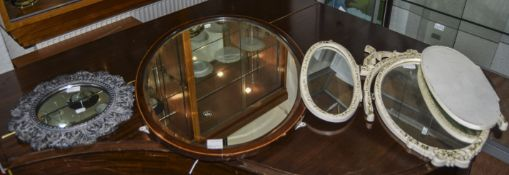 Collection Of Mirrors, 3 In Total. Comprising an Oval Shaped Wood Framed Mirror. Together with a