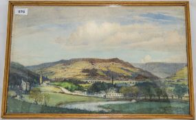 James Purdy Oldham Artist Framed Watercolour Depicting A Valley Landscape With Buildings, Signed