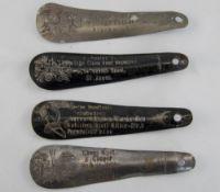 4 Metal Advertising Shoe Horns Names Include T Bannister Borough Bazaar Blackpool, Gustav