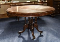 Victorian Mahogany Hall/Breakfast Table Circular Top Raised On Turned Quatrefoil Base, Cabriole Legs