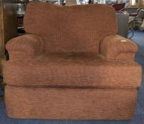 Modern Upholstered Armchair, Terracotta Fabric