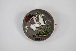 1821 Enamelled Crown Brooch