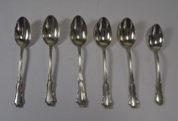Large Silver Teaspoons, Late 19th Century Swedish Set of 5 + 1 Smaller Matching Spoon. 4 ozs 16