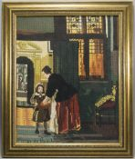 A Tapestry of a Painting by Dutch Artist Peter De Hooch 1629 - 1684. Titled ' A Boy Bringing Bread '
