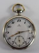 Omega - Slim line Silver Open Faced Pocket Watch. c.1900-1910.