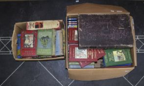 Two Boxes Of Books. Including 1 Old Bible, 1 Large London Times Books, etc.
