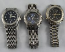 A Collection of Vintage Gents Stainless Steel Wristwatches ( 3 ) In Total.