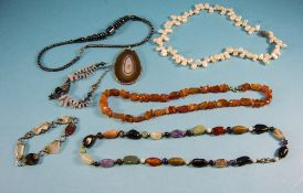 Collection of Gemstone Jewellery comprising a multi agate and quartz necklace, a cornelian necklace,