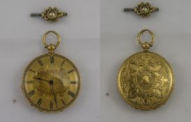 A Fine Ornate - Early 20th Century 18ct Gold Open Faced Pocket Watch with Gold Dial and Ornate