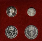 Elizabeth II Silver Maundy Set of 4 Coins. Dated 1977. 4d, 3d, 2d and 1d.