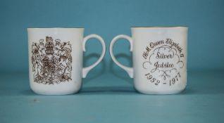 Royal Worcester Pair of 'Queen Elizabeth II Silver Jubilee' Mugs, 1952-1977.