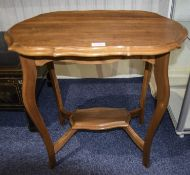 Early 20thC Occasional Table, Shaped Top, Long Cabriole Legs With Cross Stretcher, Height 24 Inches